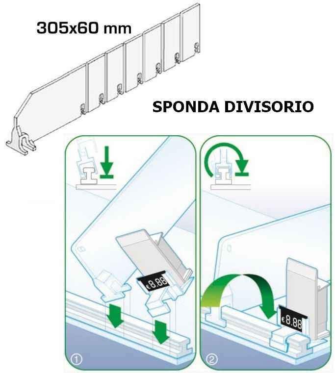SPONDINA X SPINGI PACCHETTO PLEXIGLAS DIVISIBILE L.30,5 H.6cm accorciabile