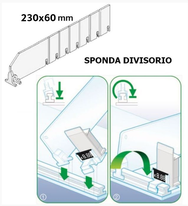 SPONDINA X SPINGI PACCHETTO PLEXIGLAS DIVISIBILE L.23 H.6cm accorciabile