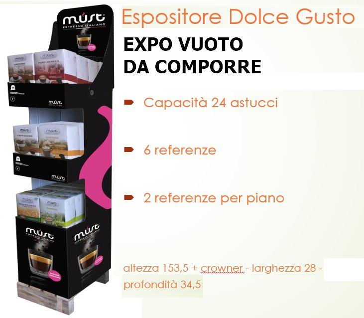 ESPOSITORE MUST CAFFE CAPSULE dolcegusto - DA TERRA 3P (alt. 153.5 - larg. 28 - profondita' 34.5)