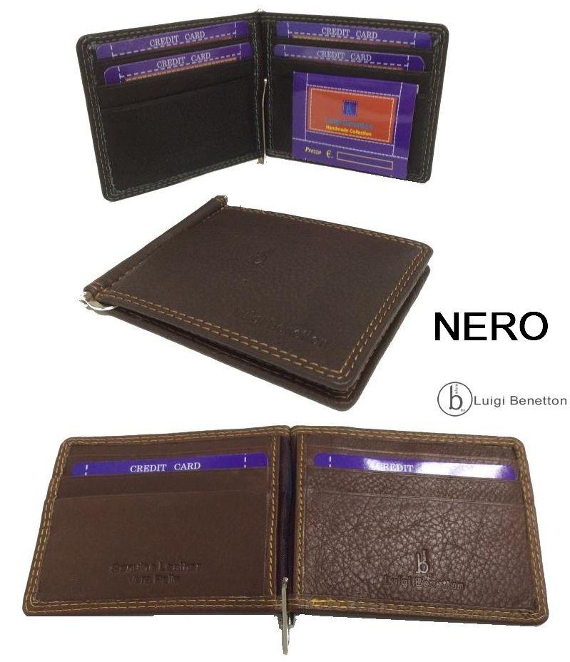PORTAFOGLIO CLIPS IN PELLE 1pz NERO 11x8,5x1cm