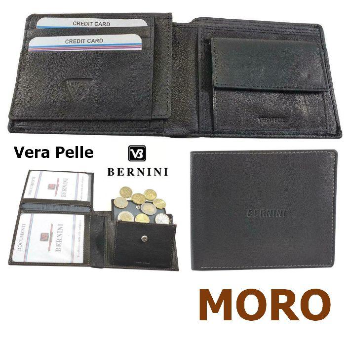 PORTAFOGLIO UOMO BERNINI MORO 4923 1pz VERA PELLE PATELLA + MONETA