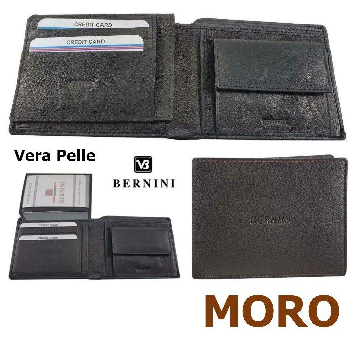 PORTAFOGLIO UOMO BERNINI MORO 4921 1pz VERA PELLE PATELLA + MONETA