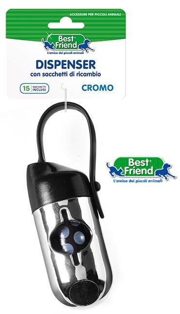 PET DISPENSER CROMO + SACCHETTI RICAMBIO 9x4x4.5cm 1pz BEST FRIEND