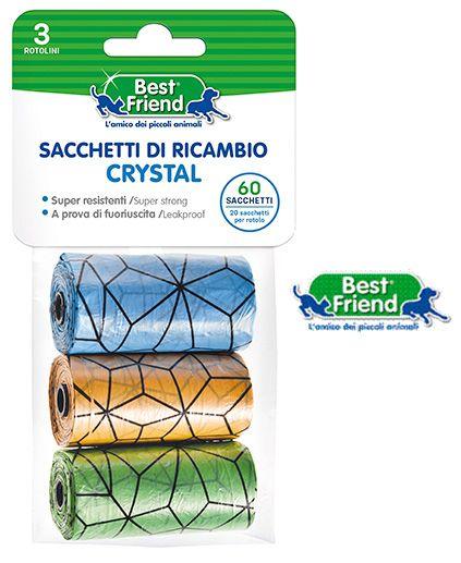 PET SACCHETTI 1pz x3 ROTOLINI da 20 SACCHETTI RICAMBIO CRYSTAL ARANCIONE/VERDE/BLU - BEST FRIEND