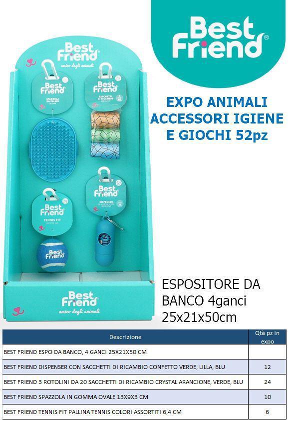 PET EXPO ANIMALI ACCESSORI IGIENE E GIOCHI 52pz - ESPOSITORE DA BANCO BEST FRIEND