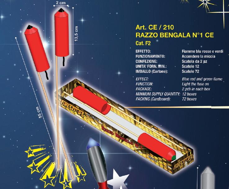 BENGALA RAZZO NR.1 SCATOLA 2pz FIRESTAR - 2020