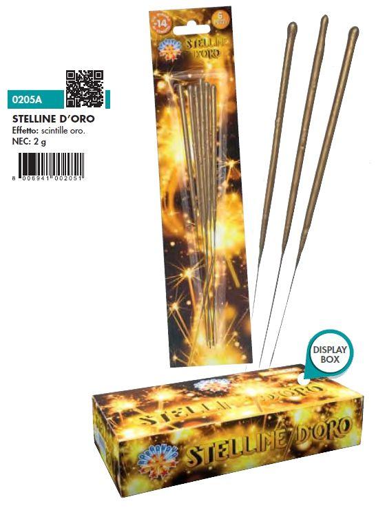 CANDELINE MAGICHE STELLINE D'ORO 6pcs x24pz BORGONOVO