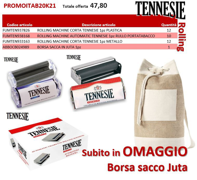 PROMOZIONE ITAB N.20/21 - TENNESIE ROLLING + BORSA SACCO JUTA