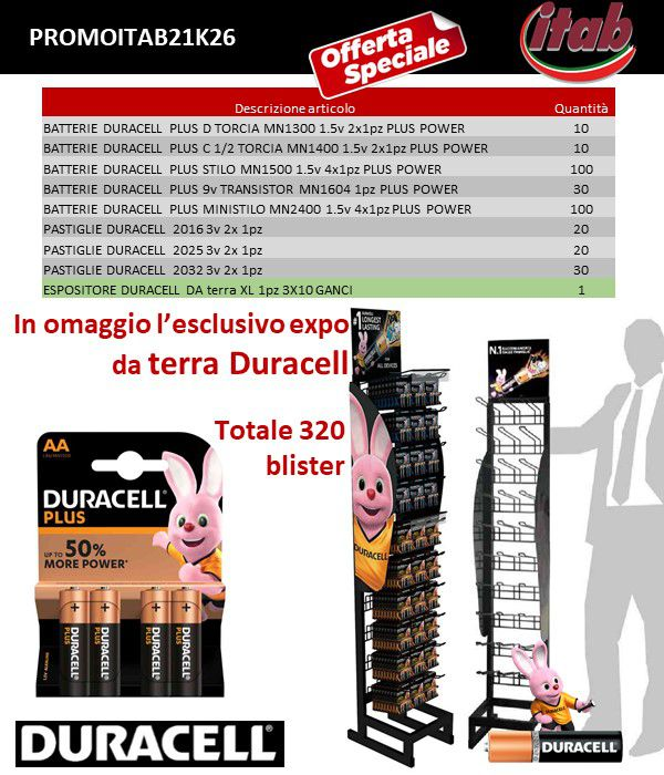 BATTERIE DURACELL PROMOZIONE ITAB N.21/26 + EXPO DA BANCO