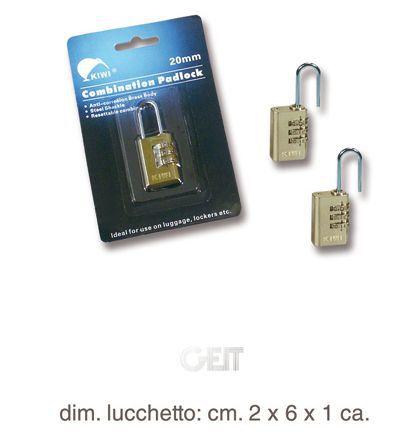 LUCCHETTI GEIT KIWI Mis.20mm 3/COMBINAZIONE 1pz