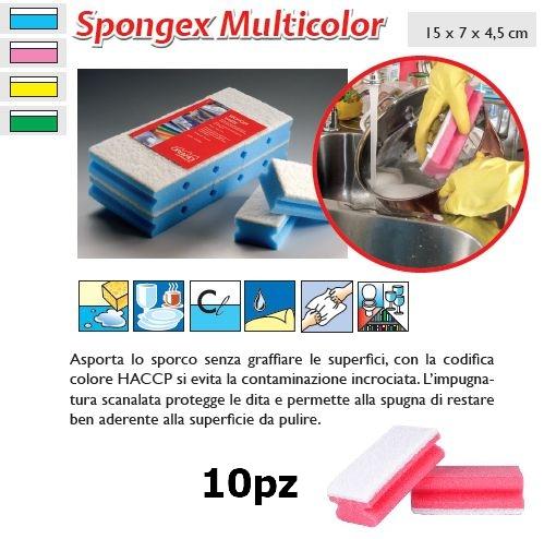SPUGNA SPONGEX MULTICOLOR ROSA 10pz - SUPER5