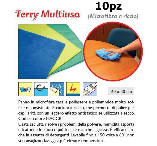 PANNO MULTIUSO TERRY 10pz 40x40cm ROSA - SUPER5