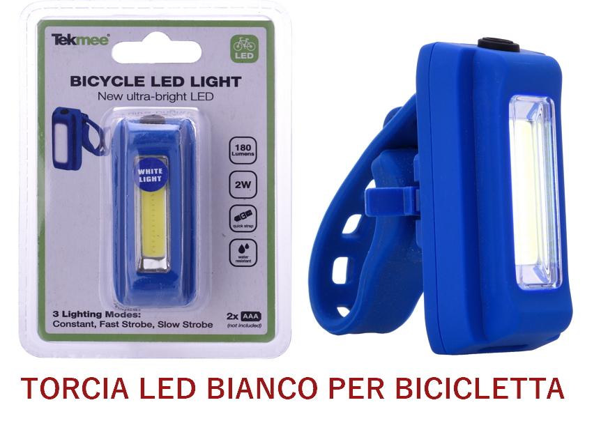 TORCIA LED FRONTALINO BICICLETTA 1pz BIANCO